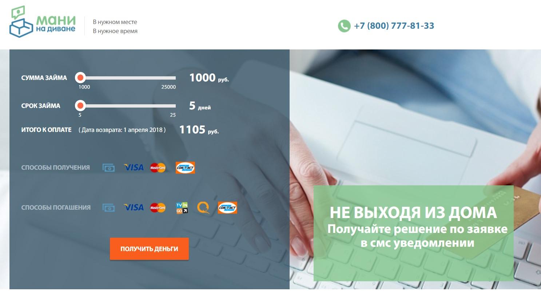 Кредит онлайн мани